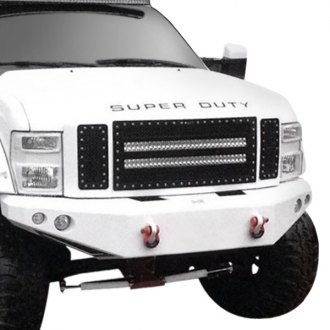 "RaceMesh® - 1-Pc Trucks™ LED Version Crimped Weave Polished Mesh Grille with 2 x 30"" LED Light Bars"