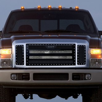 "RaceMesh® - 1-Pc Trucks™ LED Version Gothic Style Polished Mesh Grille with 2 x 30"" LED Light Bars"