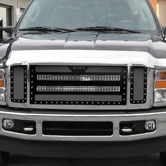 "RaceMesh® - 1-Pc Trucks™ LED Version Standard Weave Polished Mesh Grille with 2 x 30"" LED Light Bars"