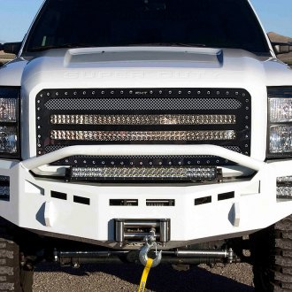 "RaceMesh® - 1-Pc Trucks™ LED Version Standard Weave Polished Mesh Grille with 2 x 40"" LED Light Bars"