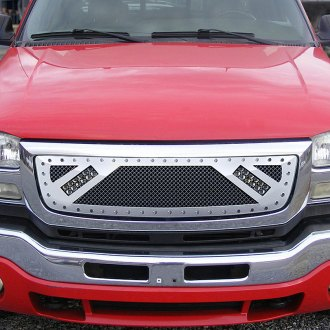 "RaceMesh® - 1-Pc Trucks™ LED Version Crimped Weave Polished Mesh Grille with 2 x 6"" LED Light Bars"