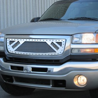 "RaceMesh® - 1-Pc Trucks™ LED Version Gothic Style Polished Mesh Grille with 2 x 6"" LED Light Bars"