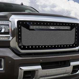 "RaceMesh® - 1-Pc Trucks™ LED Version Standard Weave Polished Mesh Grille with 1 x 30"" LED Light Bar"