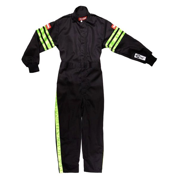 RaceQuip® - Pro-1 Series Single Layer Racing Suit, L Size, Black with Green