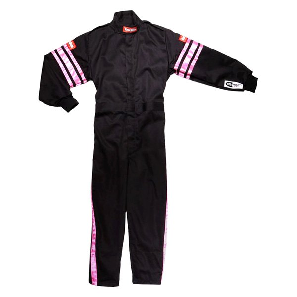 RaceQuip® - Pro-1 Series Single Layer Racing Suit, L Size, Black with Pink
