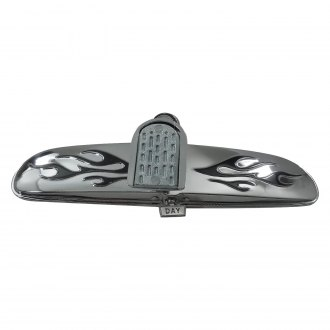 Racing Power Company® - Chrome Flame Mirror with Day-Night Switch Windshield Mount Mirror