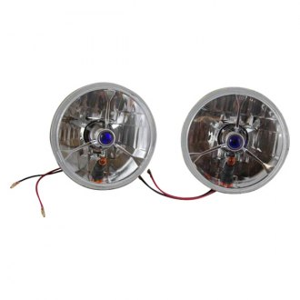 "Racing Power Company® - 5 3/4"" Round Chrome Tri-Bar Crystal Headlight With Amber Turn Signal and Blue dot"