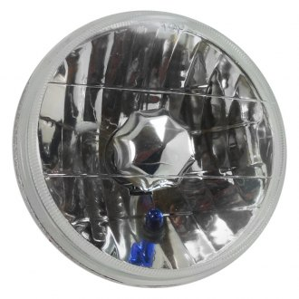"Racing Power Company® - 5 3/4"" Round Chrome Crystal Headlight With Blue Turn Signal"