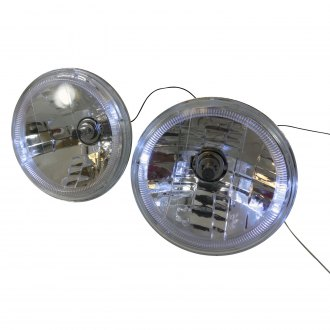 "Racing Power Company® - 7"" Round Chrome Halo Crystal Headlight"
