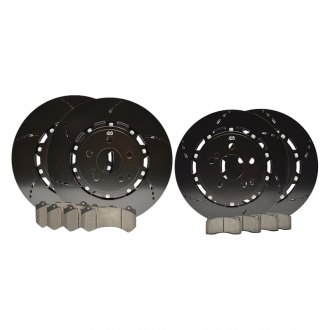RacingBrake® - Open Slot Iron 2-Piece Front and Rear Rotors and Pads Set