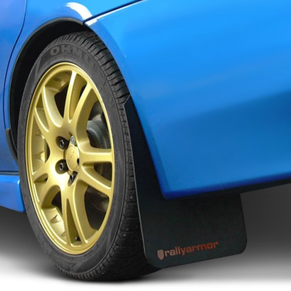 Black with blue logo Rally Armor Classic Mud Flaps MF1-BL