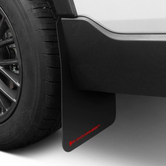 Rally Armor® - Basic Plus Series Black Mud Flaps with Red Logo