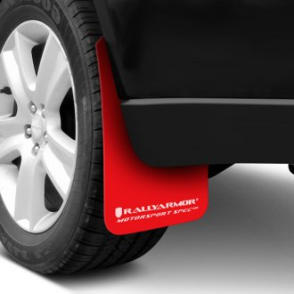 Rally Armor® - MSpec Series Red Mud Flap Kit with White Logo