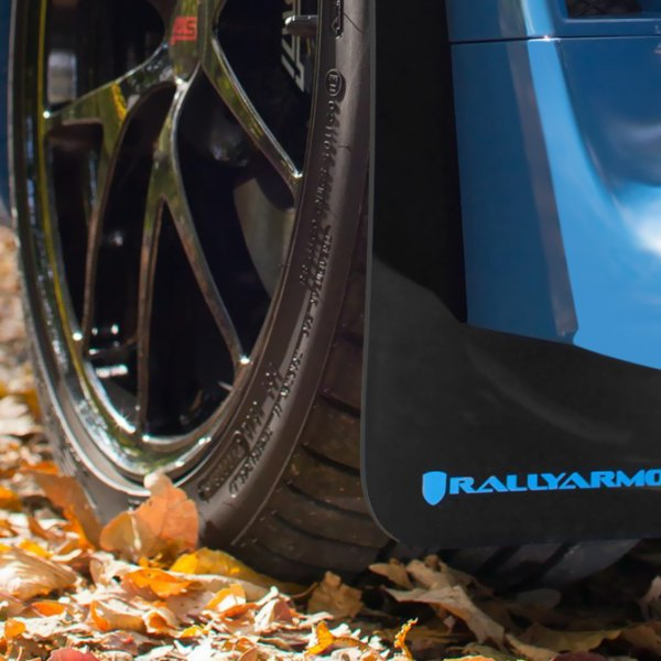Rally Armor® - Black Mud Flaps With Blue Logo Front
