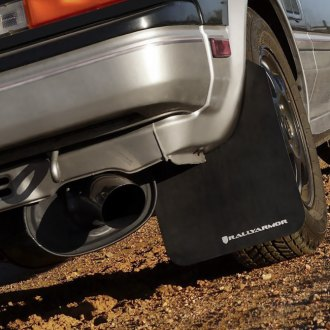 Rally Armor® - Black Mud Flaps With White Logo Rear