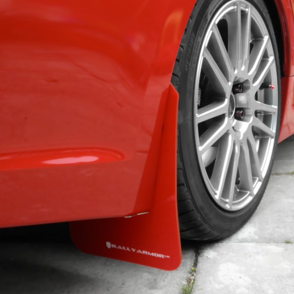 Rally Armor® - Red Mud Flaps With White Logo on red Car