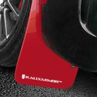 Rally Armor® - Red Mud Flaps With White Logo on Black Car