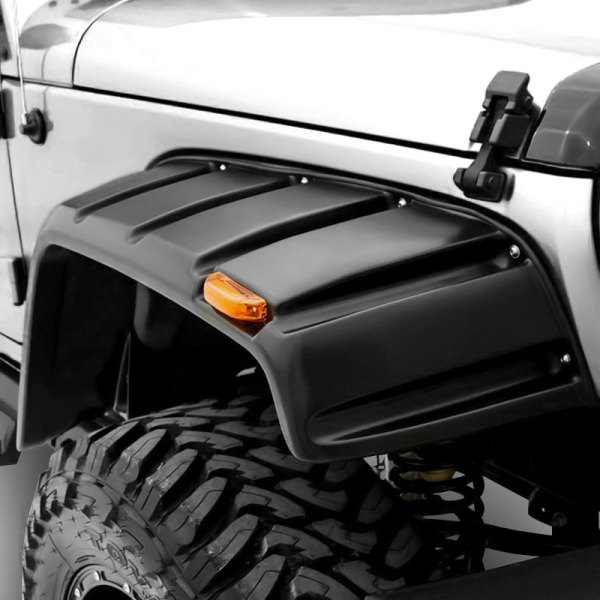 Rampage® - Rivet Style Smooth Black Front and Rear Fender Flares with Black Bolts