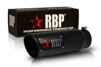 Image may not reflect your exact vehicle! RBP® - SS Heat Treated Black Coating Turbo Tip with Logo and Red Star