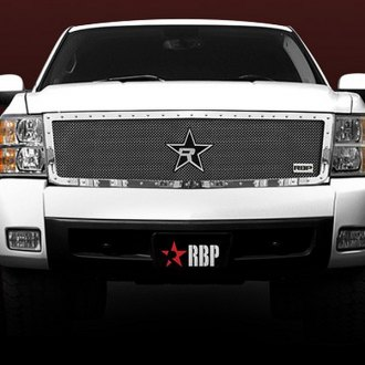 "RBP® - 1-Pc RX-5 ""HALO"" Series Chrome Double Woven Mesh Grille with Studded Frame"