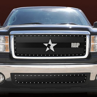 RBP® - 1-Pc RX-3 Series Black Double Woven Mesh Main Grille with Studded Frame