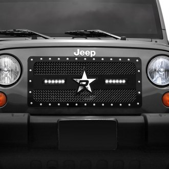 "RBP® - 1-Pc RX-3 LED Series Midnight Edition Black Dual Weave Mesh Main Grille with 2 x 11.5"" Single Row LED Light Bars"