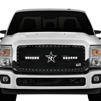 "RBP® - RX-3 LED Series Midnight Edition Black Dual Weave Mesh Main Grille with 2 x 11.5"" Single Row LED Light Bars"