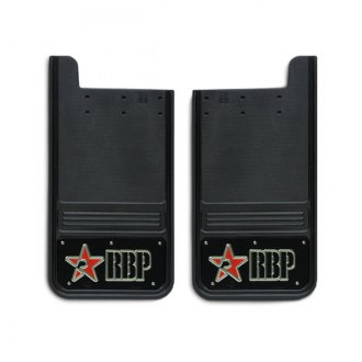 RBP® - Universal Square Mud Flap with Logo on Black Background