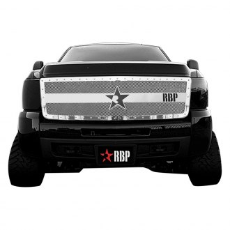 RBP® - 1-Pc RX-3 Series Chrome Stainless Steel Double Woven Mesh Main Grille with Studded Frame and Massive Center RBP Star Bar