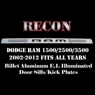 Recon® - Driver and Front Brushed Billet Aluminum Door Sills with RAM Logo and Blue Illumination