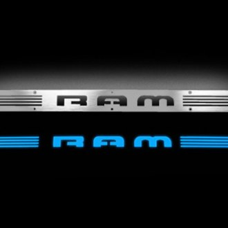 Recon® - Billet Aluminum Door Sills with RAM Logo and Blue Illumination