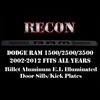 Recon® - Driver and Front Black Billet Aluminum Door Sills with RAM Logo and Blue Illumination