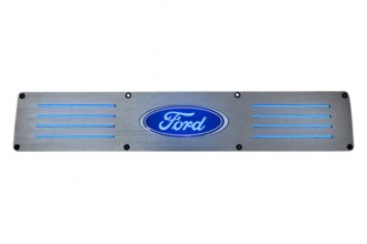 Recon® - Rear Brushed Billet Aluminum Door Sills with Ford Logo and Blue Illumination