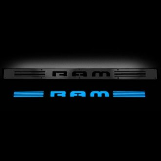 Recon® - Front Black Billet Aluminum Door Sills with RAM Logo and Blue Illumination