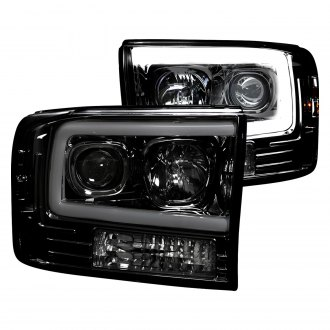 Recon® - Black/Smoke LED DRL Bar Halo Projector Headlights