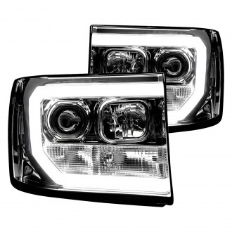 Recon® - Chrome LED DRL Bar Halo Projector Headlights