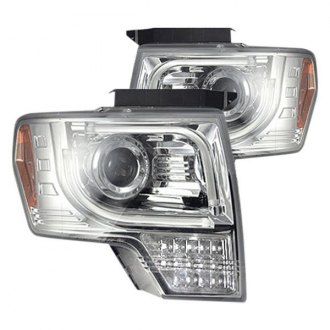 Recon® - Chrome DRL Bar Projector Headlights with Amber LED Turn Signal