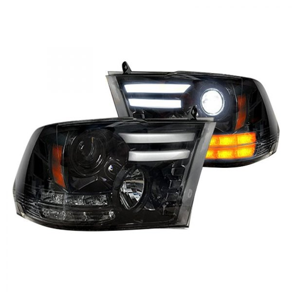 Recon® - Black/Smoke DRL Bar Projector Headlights with LED Turn Signal