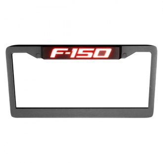 Recon® - Billet Black License Plate Frame with Red Illuminated Logo
