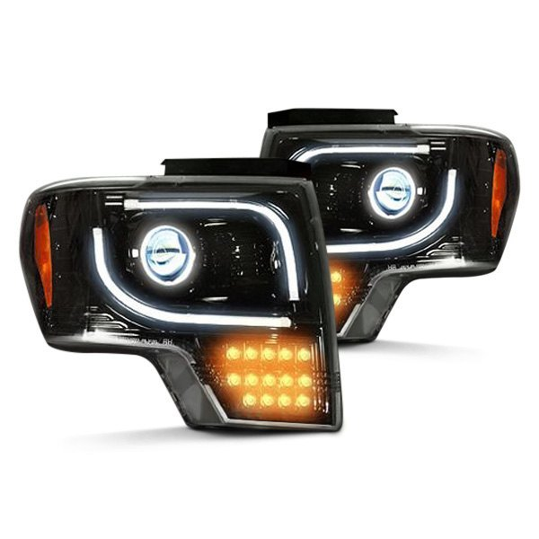 Recon® - Black Projector Headlights with Amber LED Turn Signals