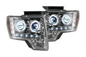 Recon® - Chrome Projector Headlights with LEDs Installed
