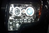 Recon® - Chrome Dual CCFL Halo Projector Headlights with LED DRL Installed