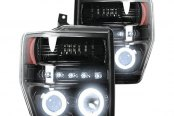 Recon® - Black Dual CCFL Halo Projector Headlights with LED DRL