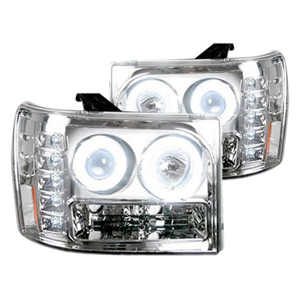 Recon® - Chrome CCFL Halo Projector Headlights with LEDs