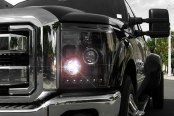 Recon® - Black Dual Halo Projector Headlights with LED DRL