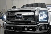 Recon® - Black Dual CCFL Halo Projector Headlights with LED DRL Installed