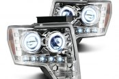 Recon® - Chrome Dual CCFL Halo Projector Headlights with LED DRL