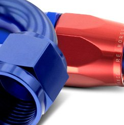 Redhorse Performance® - Straight Swivel Seal Female Aluminum Hose End Red and Blue