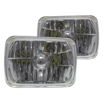 "RedLine LumTronix® - Elite 7x6"" Rectangular Chrome Diamond Cut LED Euro Headlights"