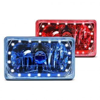 "RedLine LumTronix® - Black Illusion™ 7x6"" Rectangular Chrome Diamond Cut Halo Euro Headlights"